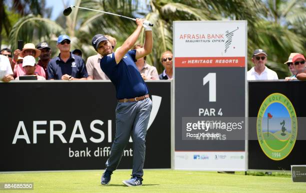 Romain Langasque of France tees off on the first hole during the final round of the AfrAsia Bank Mauritius Open at Heritage Golf Club on December 3...