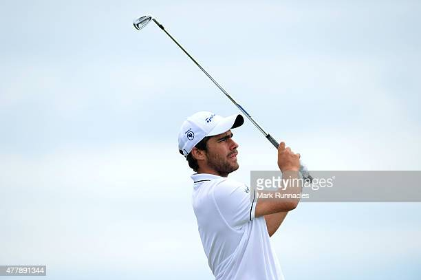 Romain Langasque of France watches his approach shot the 8th green during day Six of the Amateur Championship 2015 at Carnoustie Golf Links on June...