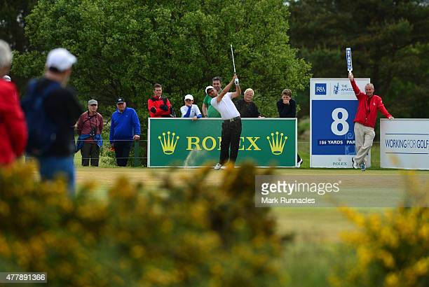 Romain Langasque of France watches on the 8th tee during day Six of the Amateur Championship 2015 at Carnoustie Golf Links on June 20 2015 in...