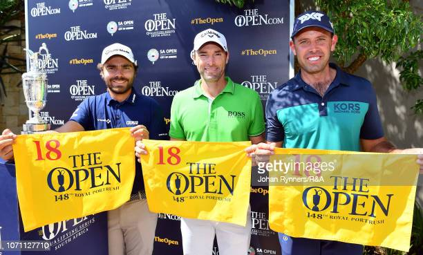 Romain Langasque Oliver Wilson and Charl Schwartzel during The Open Qualifying Series part of the South African Open at Randpark Golf Club on...