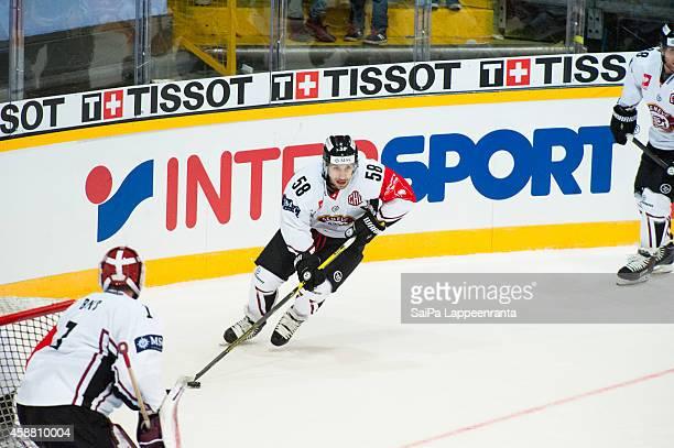 Romain Loeffel of Geneve Servette during the Champions Hockey League round of 16 second leg game between SaiPa Lappeenranta and Geneve-Servette at...