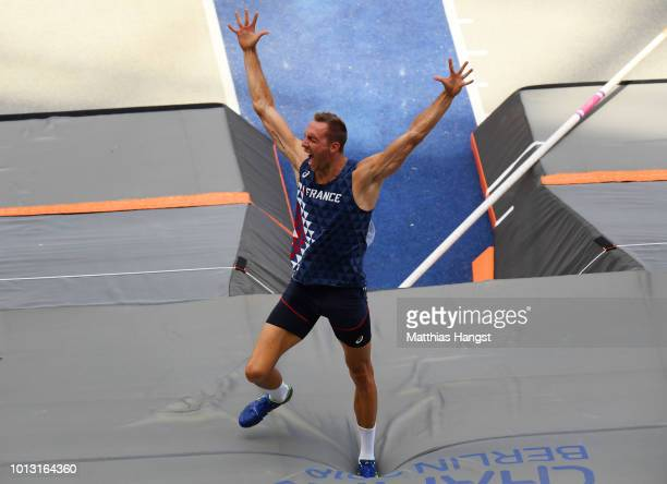 Romain Martin of France celebrates as he competes in the Men's Decathlon Pole Vault during day two of the 24th European Athletics Championships at...