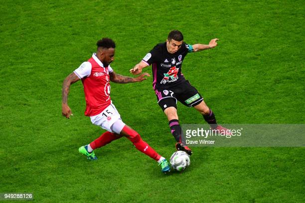 Romain Metanire of Reims and Riad Nouri of AC Ajaccio during the French Ligue 2 match between Reims and Ajaccio at Stade Auguste Delaune on April 20...