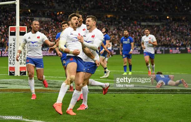 Romain Ntamack of France celebrates with teammates after scoring his sides fourth try during the 2020 Guinness Six Nations match between France and...