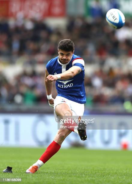 Romain Ntamack of France kicks a conversion during the Guinness Six Nations match between Italy and France at Stadio Olimpico on March 16 2019 in...