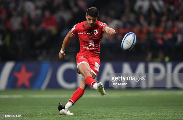 Romain Ntamack of Toulouse kicks a conversion during the Heineken Champions Cup Quarter Final match between Racing 92 and Toulouse at La Defense...