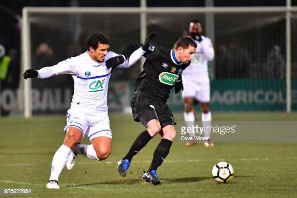 Romain Padovani of Chambly and Idriss Saadi of Strasbourg during the French Cup match between Chambly and Strasbourg at Stade Pierre Brisson on...