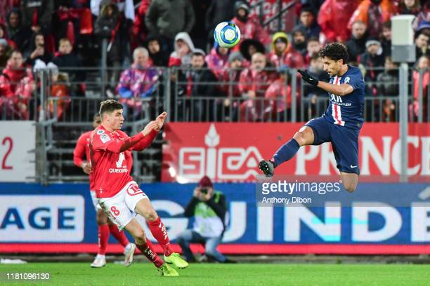 Romain PERRAUD of Brest and MARQUINHOS of PSG during the Ligue 1 match between Brest and Paris Saint Germain at Stade FrancisLe Ble on November 9...