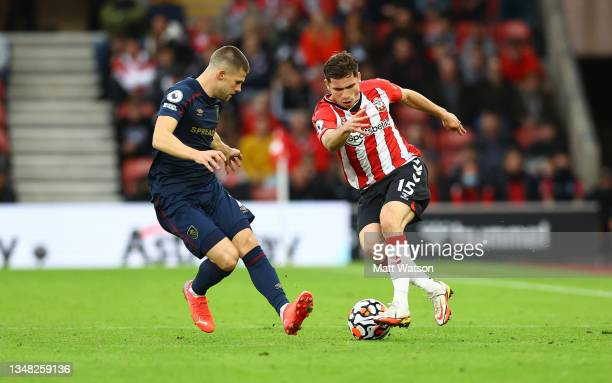 Romain Perraud of Southampton during the Premier League match between Southampton and Burnley at St Mary's Stadium on October 23, 2021 in...