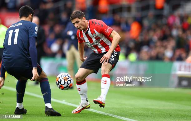 Romain Perraud of Southampton in action during the Premier League match between Southampton and Burnley at St Mary's Stadium on October 23, 2021 in...