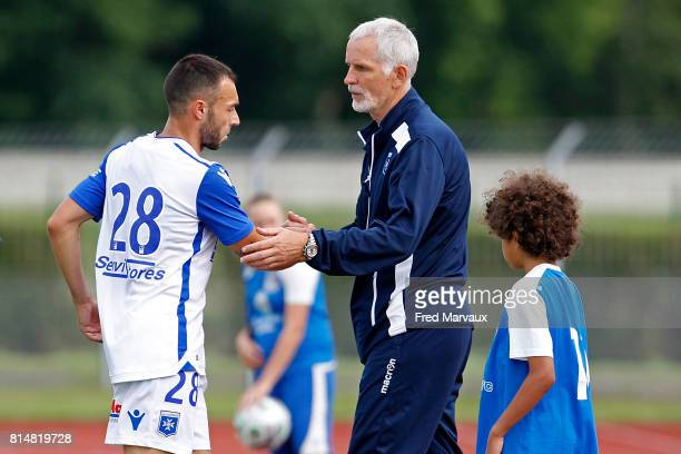 Romain Philippoteaux of Auxerre and Francis Gillot coach of Auxerre during the friendly match between Fc Metz and AJ Auxerre on July 14 2017 in...