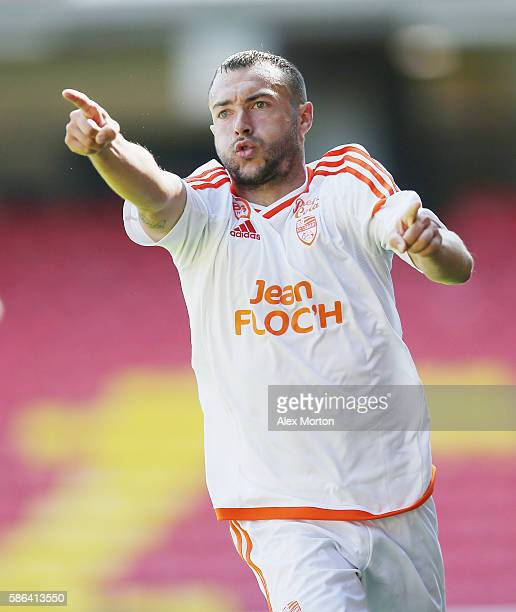 Romain Philippoteaux of Lorient celebrates after scoring their second goal during the preseason friendly match between Watford and Lorient at...