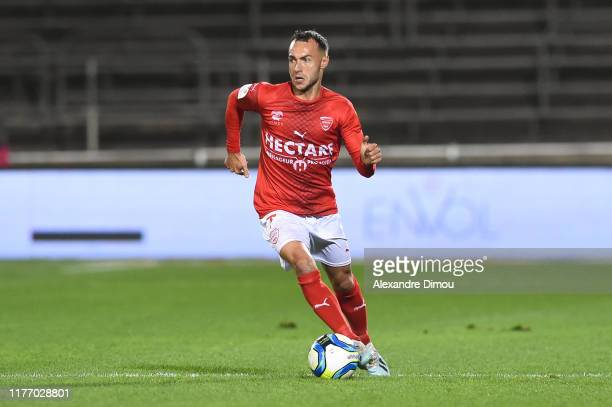 Romain PHILIPPOTEAUX of Nimes during the Ligue 1 match between Nimes Olympique and Amiens SC at Stade des Costieres on October 19, 2019 in Nimes,...
