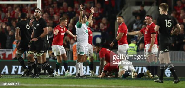 Romain Poite the referee awards a penalty to the All Blacks with only two minutes to go during the Test match between the New Zealand All Blacks and...