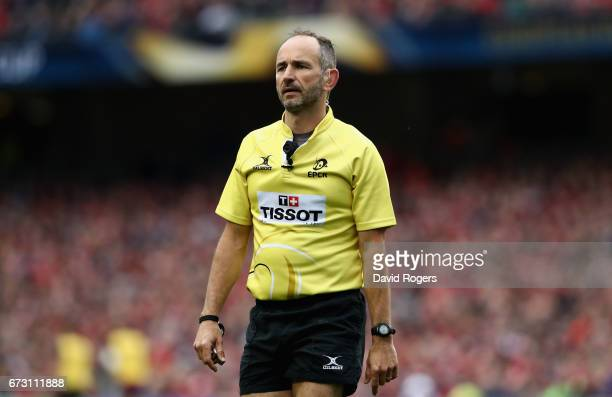 Romain Poite the referee looks on during the European Rugby Champions Cup semi final match between Munster and Saracens at the Aviva Stadium on April...