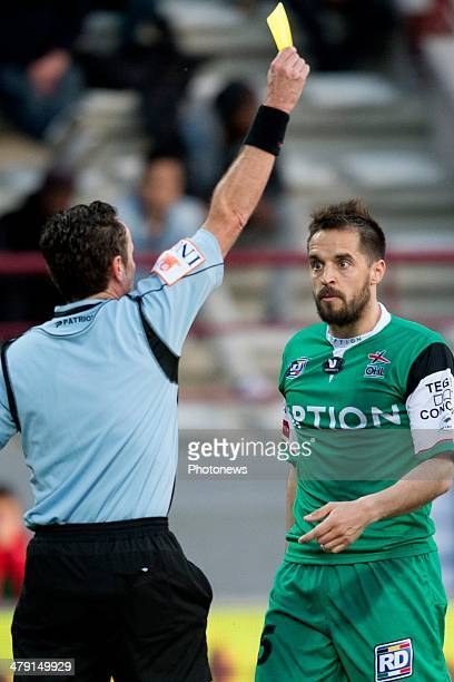 Romain Reynaud of Oud Heverlee Leuven react after receiving a yellow card duringthe Jupiler League match between Raec Mons and Oud Herverlee Leuven...