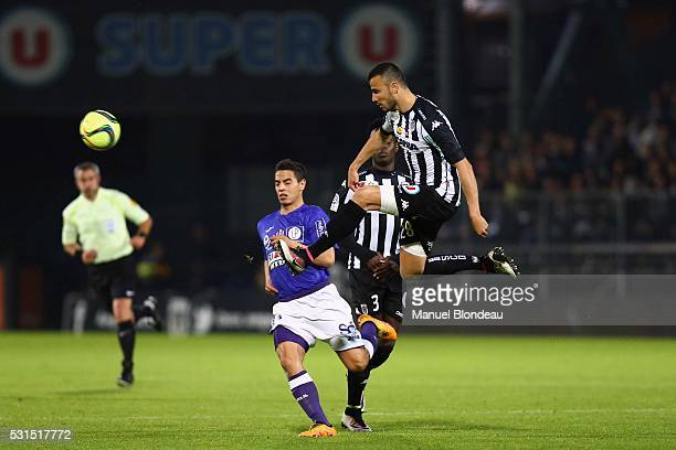 Romain Saiss of Angers during the football french Ligue 1 match between Angers SCO and Toulouse FC on May 14 2016 in Angers France
