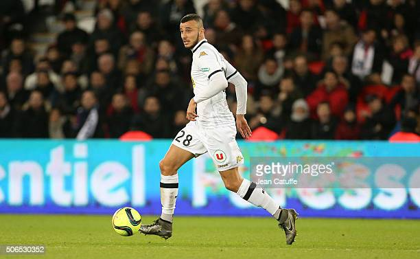 Romain Saiss of Angers in action during the French Ligue 1 match between Paris SaintGermain and SCO Angers at Parc des Princes stadium on January 23...
