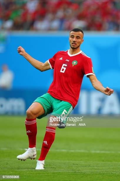 Romain Saiss of Morocco in action during the 2018 FIFA World Cup Russia group B match between Morocco and Iran at Saint Petersburg Stadium on June 15...