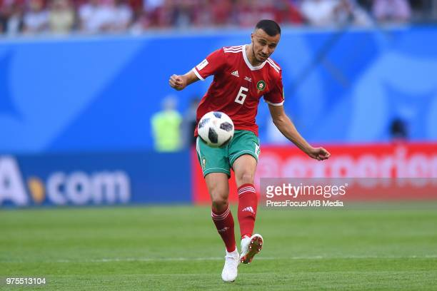Romain Saiss of Morocco passes the ball during the 2018 FIFA World Cup Russia group B match between Morocco and Iran at Saint Petersburg Stadium on...