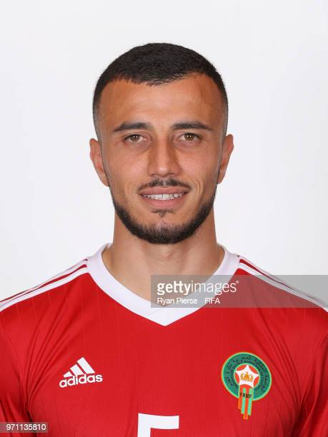 Romain Saiss of Morocco poses during the official FIFA World Cup 2018 portrait session on June 10 2018 in Voronezh Russia