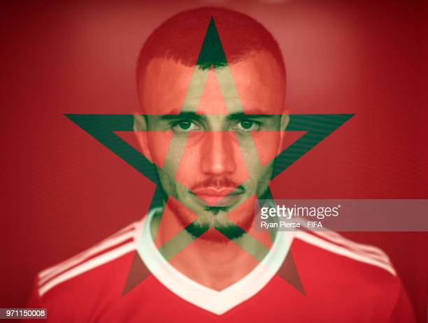 Romain Saiss of Morocco poses during the official FIFA World Cup 2018 portrait session on June 10, 2018 in Voronezh, Russia.