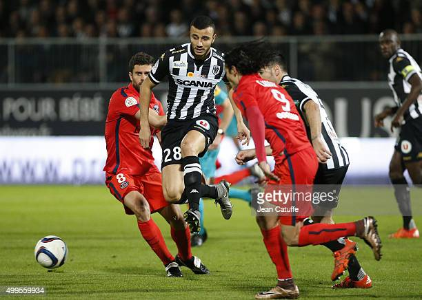 Romain Saiss of SCO Angers in action during the French Ligue 1 match between Angers SCO and Paris SaintGermain at Stade Jean Bouin on December 1 2015...