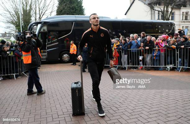 Romain Saiss of Wolverhampton Wanderers arrives at Molineux Stadium before the Sky Bet Championship match between Wolverhampton Wanderers and...