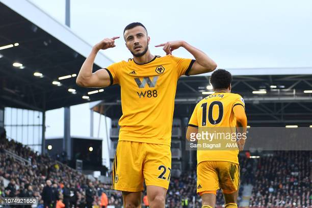 Romain Saiss of Wolverhampton Wanderers celebrates after scoring a goal to make it 11 during the Premier League match between Fulham FC and...