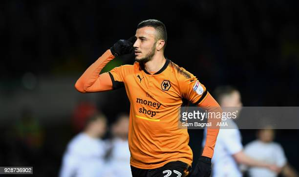Romain Saiss of Wolverhampton Wanderers celebrates after scoring a goal to make it 01 during the Sky Bet Championship match between Leeds United and...