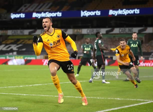 Romain Saiss of Wolverhampton Wanderers celebrates after scoring their team's first goal during the Premier League match between Wolverhampton...