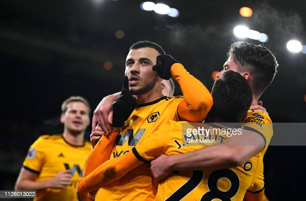 Romain Saiss of Wolverhampton Wanderers celebrates his first goal during the Premier League match between Wolverhampton Wanderers and West Ham United...