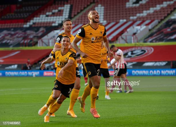 Romain Saiss of Wolverhampton Wanderers celebrates scoring the second goal during the Premier League match between Sheffield United and Wolverhampton...