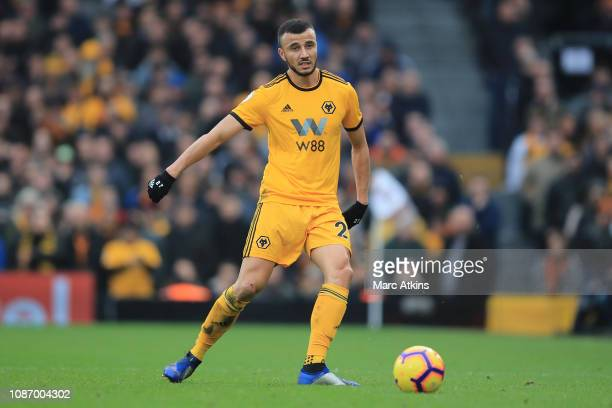 Romain Saiss of Wolverhampton Wanderers during the Premier League match between Fulham FC and Wolverhampton Wanderers at Craven Cottage on December...