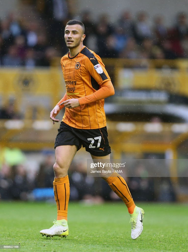 Romain Saiss of Wolverhampton Wanderers during the Sky Bet Championship match between Wolverhampton Wanderers and Brighton & Hove Albion at Molineux on April 15, 2017 in Wolverhampton, England.