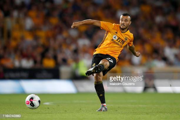 Romain Saiss of Wolverhampton Wanderers during the UEFA Europa League game between Wolverhampton Wanderers and Crusaders at Molineux on July 25 2019...
