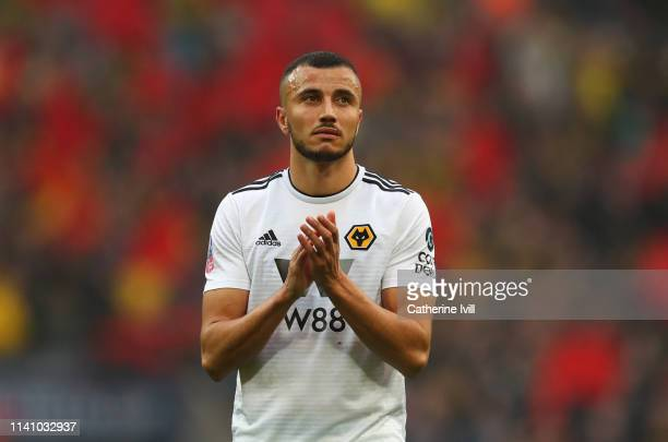 Romain Saiss of Wolverhampton Wanderers looks dejected in defeat after the FA Cup Semi Final match between Watford and Wolverhampton Wanderers at...
