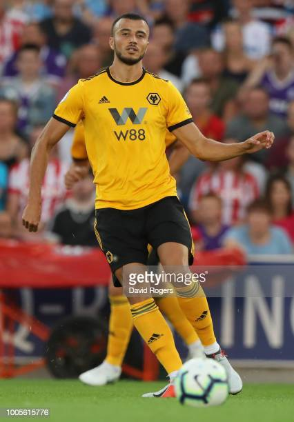 Romain Saiss of Wolverhampton Wanderers passes the ball during the preseason friendly match between Stoke City and Wolverhampton Wanderers at the...