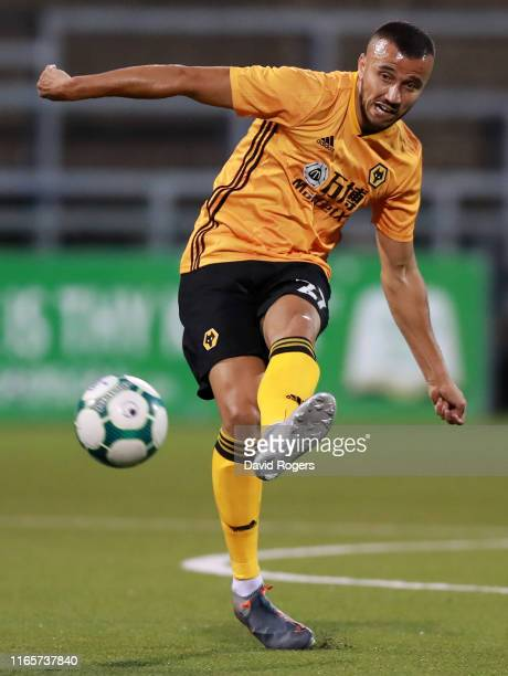 Romain Saiss of Wolverhampton Wanderers passes the ball during the UEFA Europa League Second Qualifying round 2nd Leg match between Crusaders and...