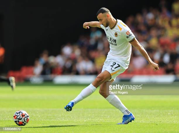 Romain Saiss of Wolverhampton Wanderers passes the ball during the Premier League match between Watford and Wolverhampton Wanderers at Vicarage Road...
