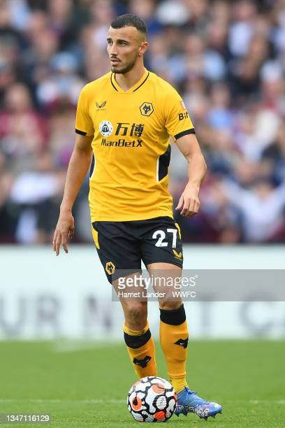 Romain Saiss of Wolverhampton Wanderers runs with the ball during the Premier League match between Aston Villa and Wolverhampton Wanderers at Villa...