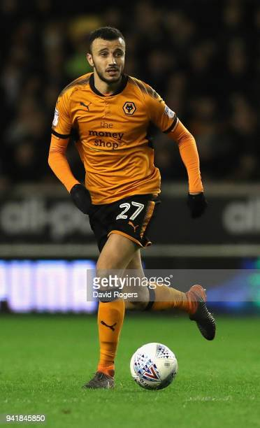 Romain Saiss of Wolverhampton Wanderers runs with the ball during the Sky Bet Championship match between Wolverhampton Wanderers and Hull City at...
