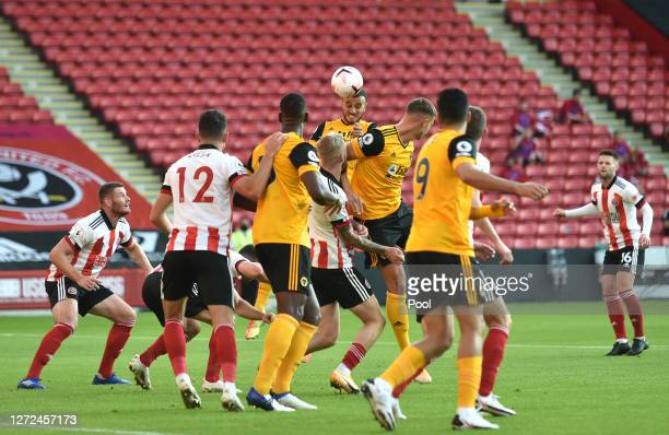 Romain Saiss of Wolverhampton Wanderers scores his sides second goal during the Premier League match between Sheffield United and Wolverhampton...