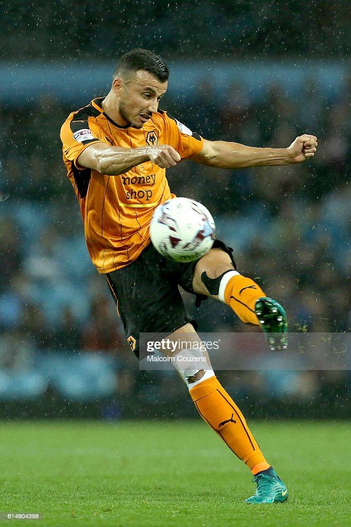 Romain Saiss of Wolverhampton Wanderers shoots at goal during the Sky Bet Championship match between Aston Villa and Wolverhampton Wanderers on October 15, 2016 in Birmingham, England.