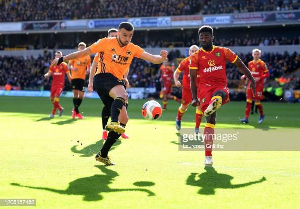 Romain Saiss of Wolverhampton Wanderers shoots past Alexander Tettey of Norwich City during the Premier League match between Wolverhampton Wanderers...