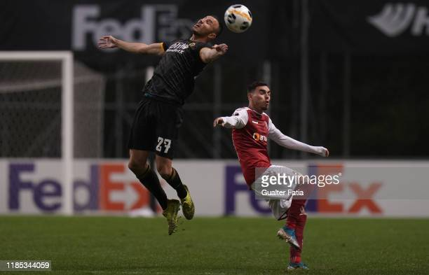 Romain Saiss of Wolverhampton Wanderers with Ricardo Horta of SC Braga in action during the Group K UEFA Europa League match between SC Braga and...