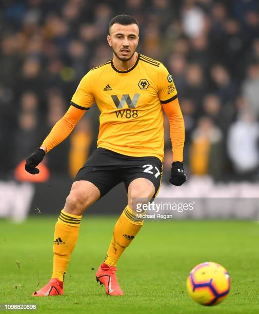 Romain Saiss of Wolves in action during the Premier League match between Wolverhampton Wanderers and Leicester City at Molineux on January 19 2019 in...
