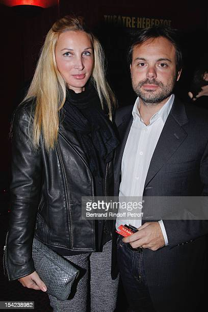 Romain Sardou and his wife Francesca attend 'La Conversation' By Jean D'Ormesson at Theatre Hebertot on October 16 2012 in Paris France