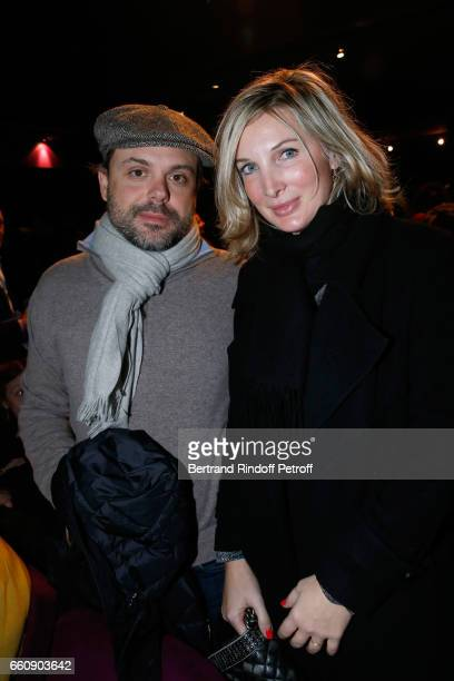 Romain Sardou and his wife Francesca attend the Hotel des deux mondes Theater Play at Theatre Rive Gauche on January 26 2017 in Paris France