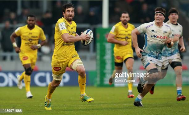 Romain Sazy of La Rochelle breaks with the ball during the Heineken Champions Cup Round 2 match between Sale Sharks and La Rochelle at AJ Bell...